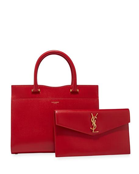 Saint Laurent Uptown Medium Ysl Leather Satchel Bag