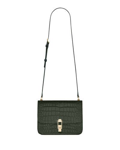 Carre Medium Croc-Embossed Crossbody Bag