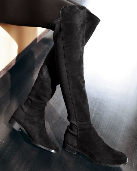 50/50 Suede Stretch Over-The-Knee Boot, Black