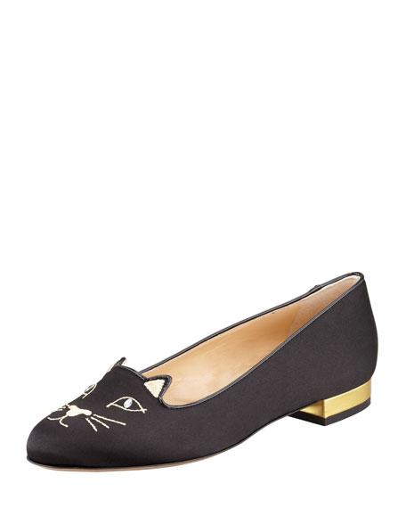 Charlotte Olympia Kitty Cat Satin Flat Slipper, Black