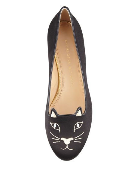 Kitty Cat Satin Flat Slipper, Black