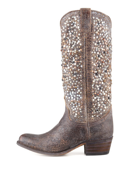 Deborah Studded Vintage Leather Boot, Gray