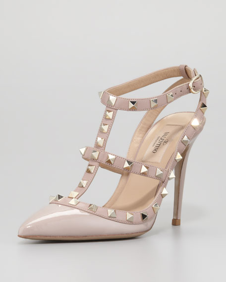 ValentinoRockstud Patent T-Strap Pump, Poudre