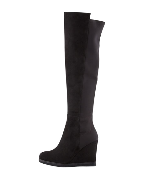 Stuart Weitzman Demiswoon Over-the-Knee Wedge Boot, Black