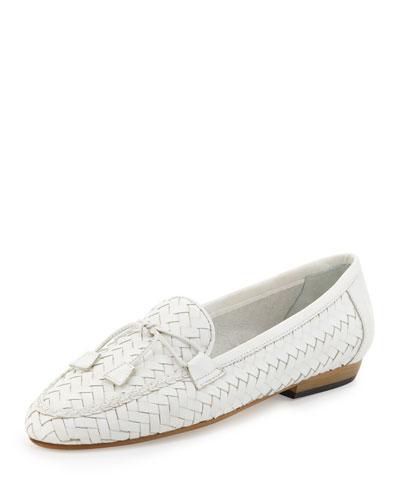 Nancy Woven Leather Tassel Flat Loafer, White