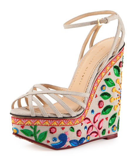 Charlotte OlympiaCelebration Meredith Embroidered-Wedge Sandal