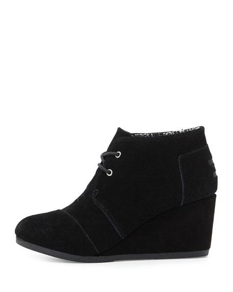 Suede Desert Wedge Boot, Black