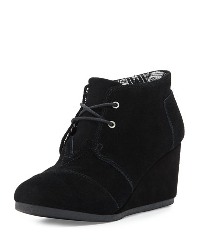 Suede Desert Wedge Boot, Black