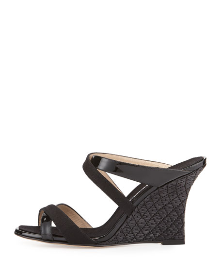 Manolo Blahnik Varchi Patent Leather and Linen Crisscross Wedge Sandal, Black