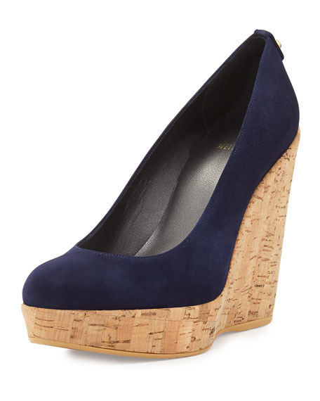 Stuart Weitzman Corkswoon Suede Wedge Pump, Nice Blue