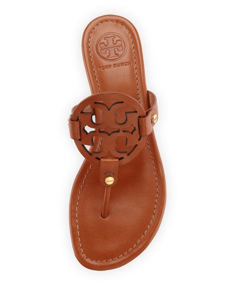 Medallion Leather Flat Thong