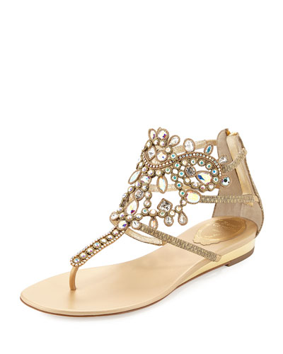 Crystal-Embellished Leather Flat Sandal, Gold
