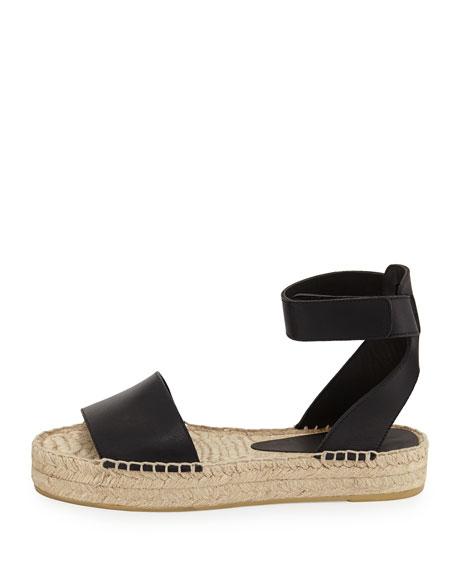 platform espadrille sandals black