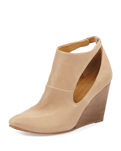 Jory Leather Cutout Wedge Bootie, Nude