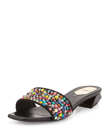 Fantasia Leather Sequin Flat, Multi/Black