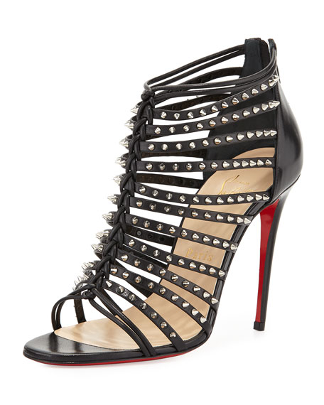 Christian Louboutin Millaclu Mini-Spike Red Sole Pump, Black