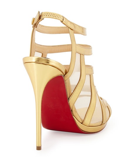 Christian Louboutin Nicole Mesh-Inset Caged Red Sole Sandal, Gold