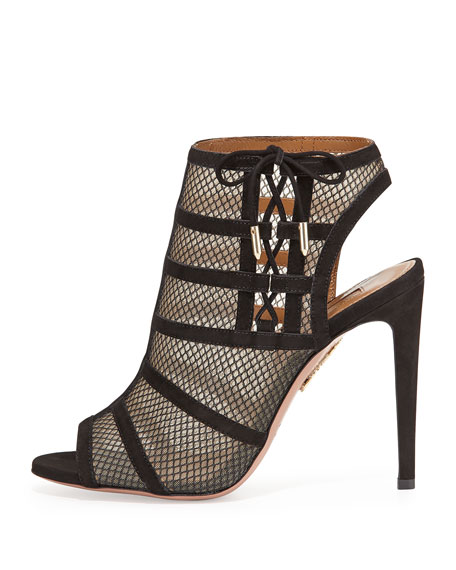 Oui Baby Suede/Mesh Lace-Up Bootie, Black