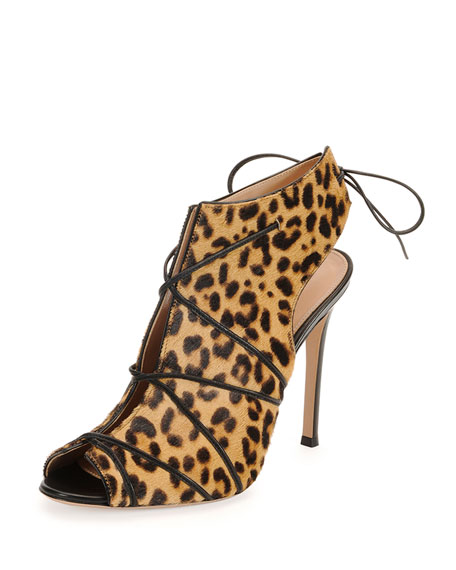 Gianvito Rossi Open-Toe Calf-Hair Bootie, Leopard