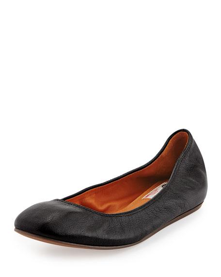 LanvinClassic Goatskin Ballerina Flat, Black