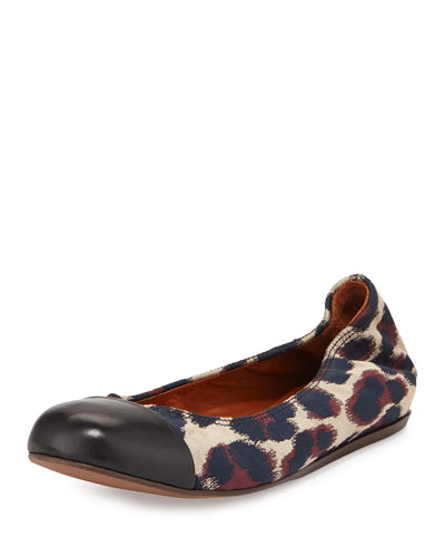Leopard Jacquard Ballet Flat, Beige