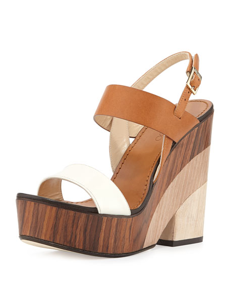 Jimmy Choo Notion Tricolor Wooden Wedge Sandal, White/Caramel