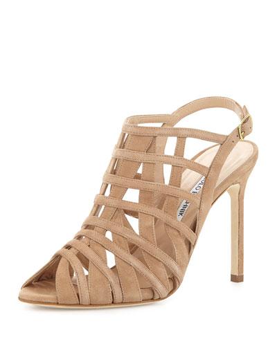 Dance Suede Cage High-Heel Sandal, Beige