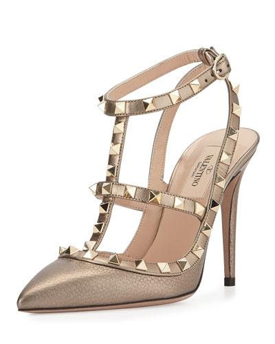 Rockstud Metallic Leather Sandal, Sasso