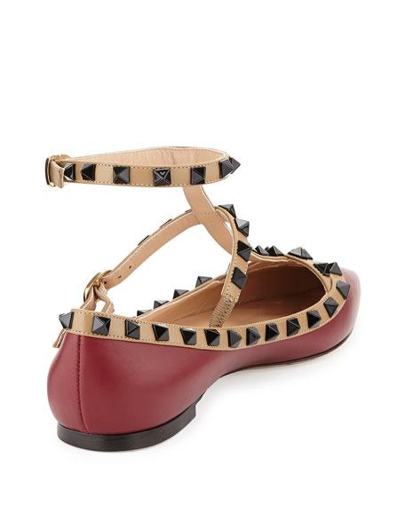Lacquered Rockstud Ballerina Flat, Dark Red/Alpaca