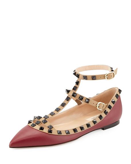 Valentino Lacquered Rockstud Ballerina Flat, Dark Red/Alpaca
