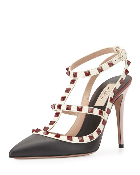 Valentino Lacquered Rockstud Leather Pump, Nero/Ivory/Red