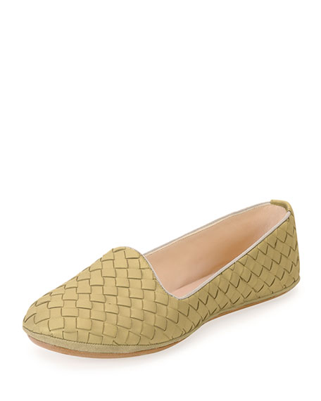 Bottega Veneta Napa Intrecciato Woven Smoking Slipper, Camel