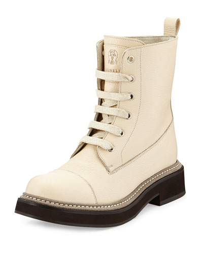Textured Calfskin Lace-Up Boot, Wheat