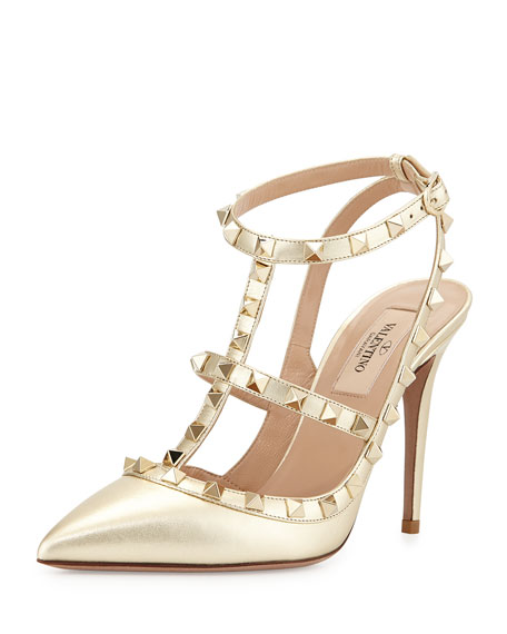 Metallic Rockstud Leather Pump, Platino