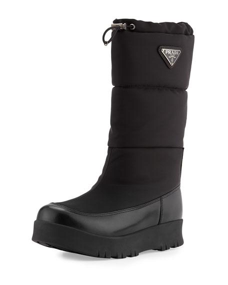 Prada Linea Rossa Nylon Platform Snow Boot, Black