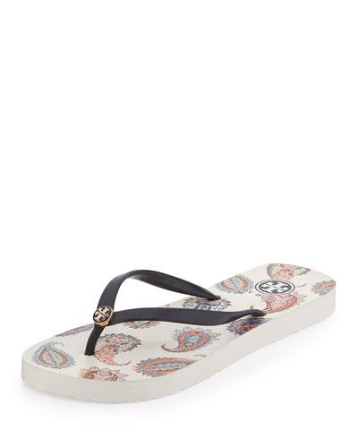 Paisley-Print Flip-Flop Sandal, Tory Navy
