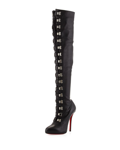 Christian Louboutin Top Croche Over-the-Knee Red Sole Boot, Black