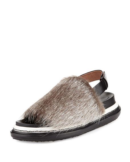 Marni Fur Platform Slingback Sandal Black Gray Brown