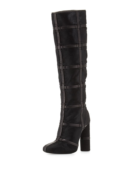 Calf-Hair Patch High-Heel Knee Boot, Black