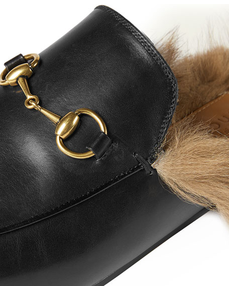 Gucci Princetown Fur-Lined Mule, Nero