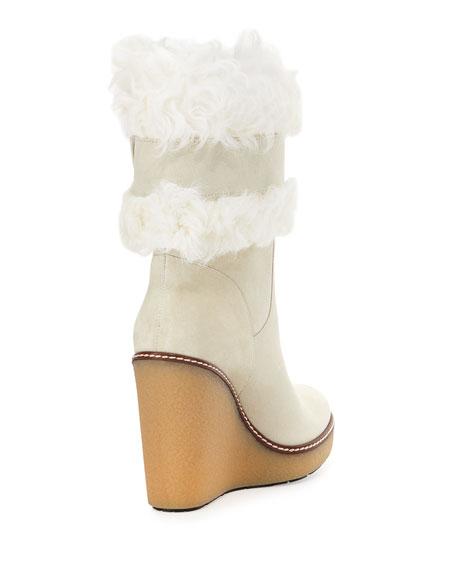 Marguerite Fur-Cuff Wedge Boot, White