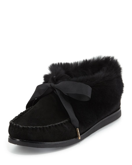 Tory Burch Aberdeen Fur-Lined Slipper, Black