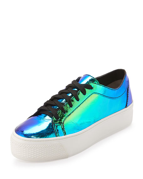 Loeffler Randall Miko Iridescent Platform Sneaker, Acid