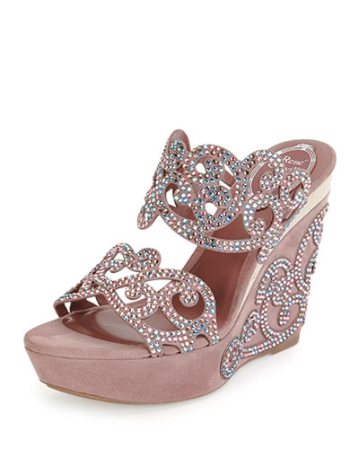 Suede & Strass Wedge Sandal, Blush