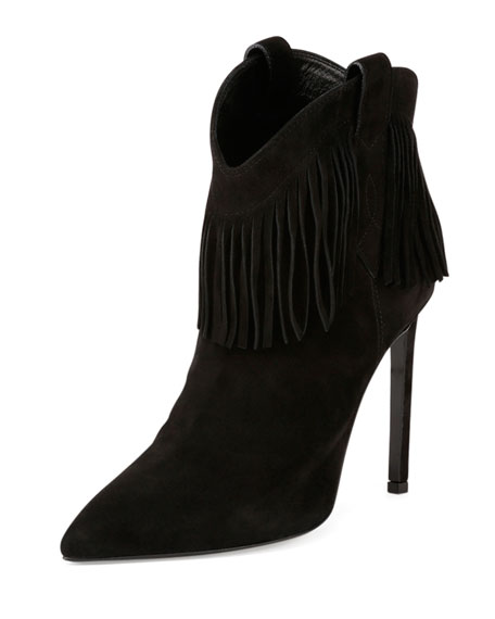 Suede Fringe High-Heel Bootie, Black