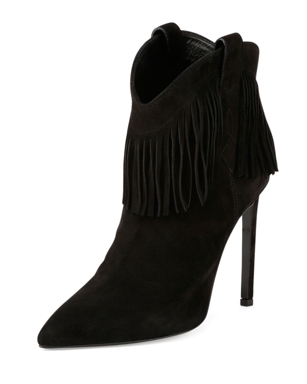 Saint Laurent Suede Fringe High Heel Bootie Black Neiman Marcus