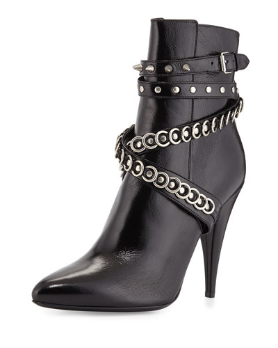 Chain-Wrapped Tumbled Leather Boot, Black
