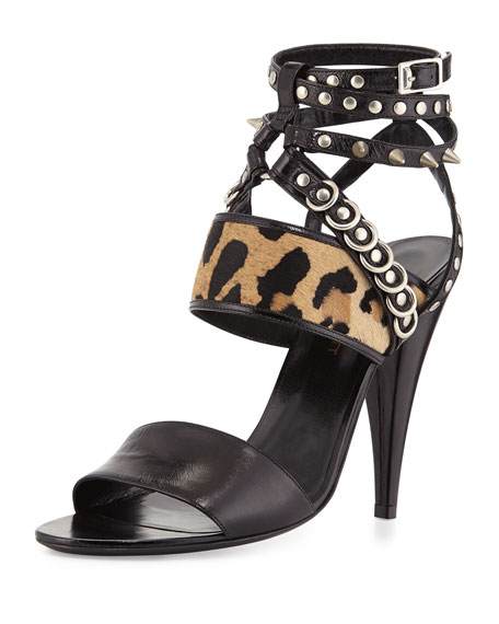 Saint Laurent Spike-Studded Ankle-Wrap Sandal, Black/Natural