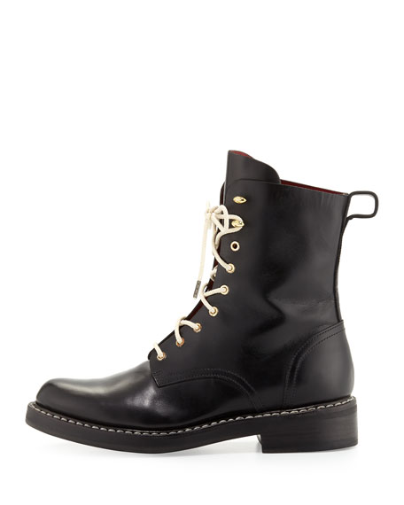 Emil Leather Combat Boot, Black