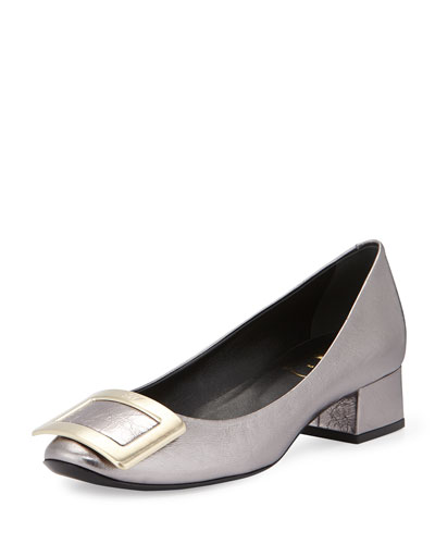 Belle de Nuit Crushed Leather Pump, Gray Pearl